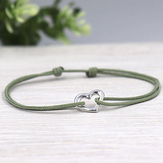 Cord women 925 sterling silver heart bracelet