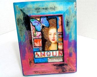 Mixed media original artwork, 3.5 x 4.5 original art 'Amour'. Boho Royal framed art