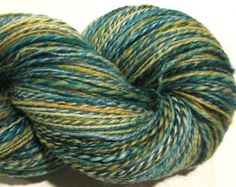 Handspun yarn, Green Gold, 504 yards, DK weight, green yarn, gold yarn, 2 ply,  Superwash BFL wool, Nylon, sock yarn, knitting supplies
