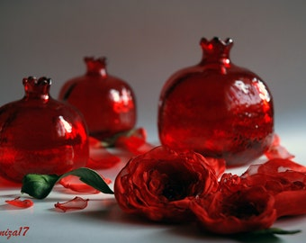 3 Red Glass Pomegranate