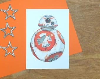 BB8 Postcard - Art Print - Star Wars: The Force Awakens