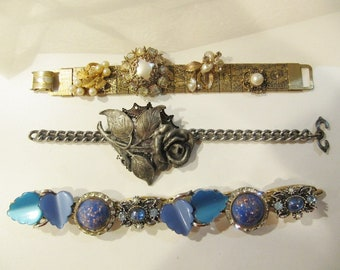 Set of three bracelets, already recycled, re-purposed, use as is or for parts