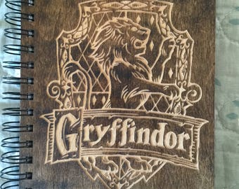 Harry Potter House Gryffindor Etched Wooden Notebook