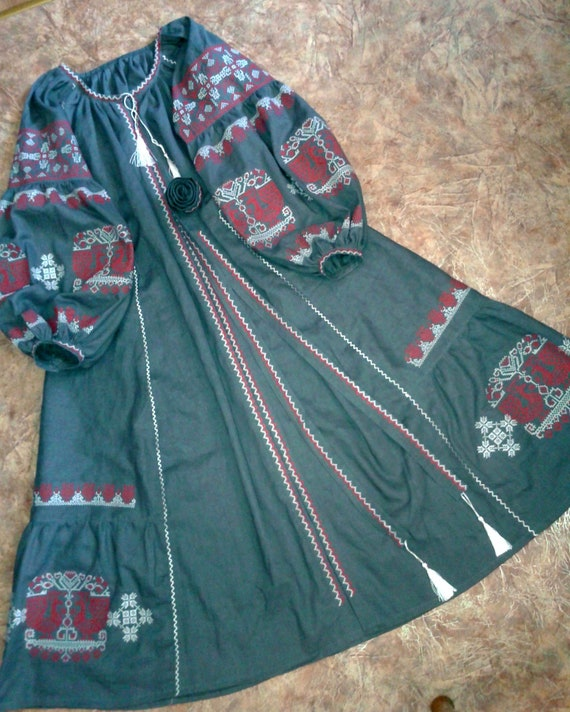 Belt Linen Vintage Gray Pattern Boho Full Vyshyvanka Dress With Maxi Ethnic Long Dark Sleeve Embroidered Ukrainian Balloon HanzwwqT