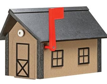 Standard Poly Mailbox - Weatherwood & Black w/ Black Poly Roof