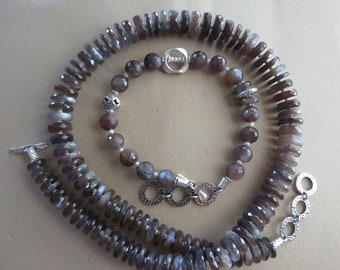 Stunningly Beautiful Chocolate Moonstone One-of a Kind  necklace and bracelet set.