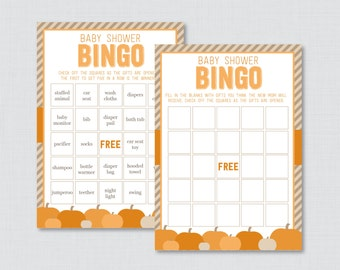 Little Pumpkin Baby Shower Bingo Cards Printable - Prefilled Bingo Cards AND Blank Cards - Digital Instant Download - Little Pumpkin 0035-O