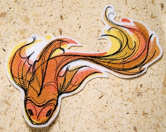 Gold Ombre Koi Fish - Iron On Embroidery Patch MTCoffinz - Choose Size