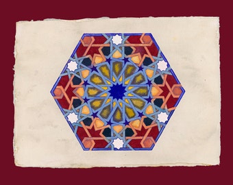 Islamic Geometric Painting – Moroccan Blend, Limited Edition Fine Art Giclée Print  by Hasret Brown