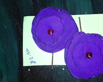 Purple flower hair slides