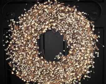 Door Wreath - Berry Wreath - Year Round Wreath - White Cream Wreath