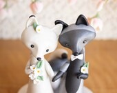 Silver Fox and Arctic Fox Wedding Cake Topper