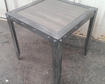 Custom Weathered Industrial Side Table #033  •  Industrial Style Furniture by Industrial Evolution Furniture Co.