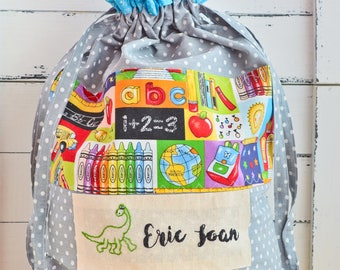 Unique personalized bag for daycare, nursery drawstrings bag, baby gift, drawstrings bag, diapers bag,  library bag, beach bag, walkings bag