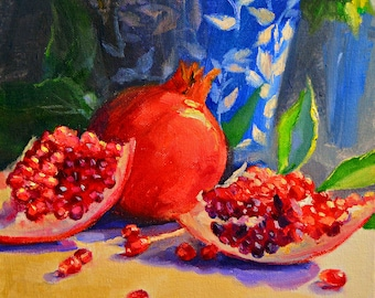 ART print of GRANAAT SEISOEN, oil on canvas, French Setting ,Delft porcelain, red and blue, still life