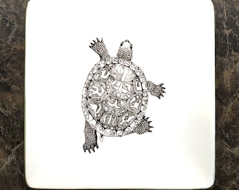 """Box Turtle, contemporary B&W, china painting on 4"""" coupe porcelain plate"""