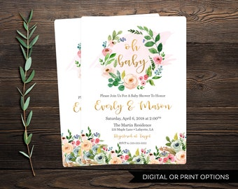 Baby Shower Invitation, Girl Baby Shower Invitation, Floral Baby Shower Invitation