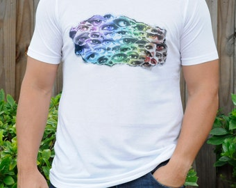 Handmade printed t-shirt with a colorful digital collage