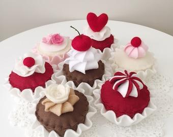 Felt Food Cupcakes, Tea Party, Play Food, Pretend Play Kitchen, Play House, Felt Cakes, Play Shop