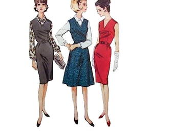 McCall's 7391 Sewing Pattern Retro 60s Mad Men Style Sheath Dress Wiggle Skirt V Neckline Jumper Plus Size Full Figure Bust 44