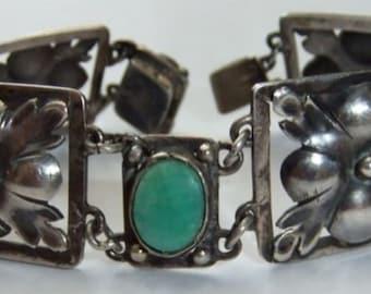 Sale Striking 1800s Art Nouveau Arts and Crafts Sterling Silver Green Amazonite Antique Bracelet Art Nouveau Jewelry