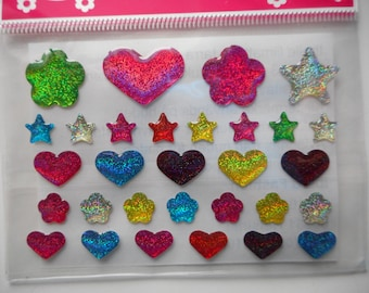 Bag of pretty stickers depicting flowers, hearts and stars