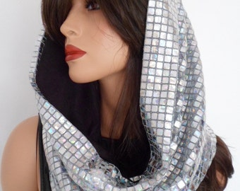 festival hood, silver sequin snood, silver sequin scarf, hologram snood, festival clothing