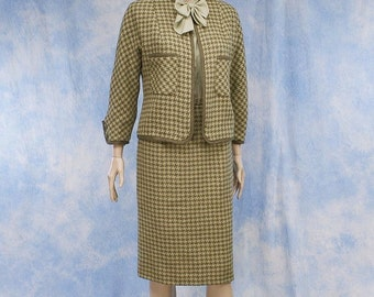 Vintage 50s 1950s Designer Houndstooth Wool Cardigan Jacket & Pencil Skirt Suit, XS, Small