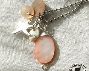 Coral Pink Silver Starfish Necklace