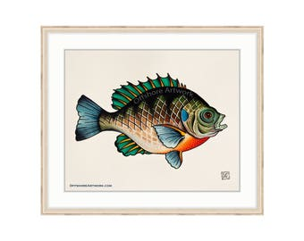 "Bluegill Giclee Print of a Watercolor Painting 8""x10"" for the Freshwater Angler. Sunfish. Bream. Brim Fish. Copper Nose Fish. Lake Fishing.R"