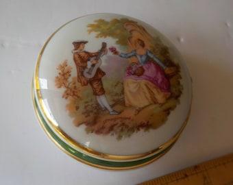 Limoges Veritable Porcelaine D'art Trinket Box Courting Couple Lute Player
