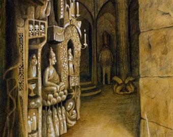 Harshad: Original Illustration on Wood, 18x24in