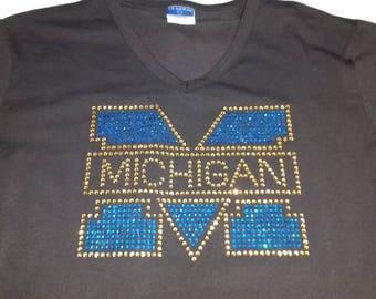 Michigan Rhinestone V -Neck T-Shirt
