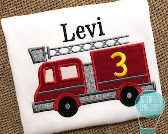 Birthday Firetruck Shirt / First Birthday Shirt / Firetruck Applique / Firetruck bodysuit / Toddler Birthday Shirt / Boy Birthday Outfit