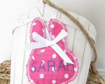 Easter Basket Name Tag Personalized Embroidered Bunny Rabbit Face