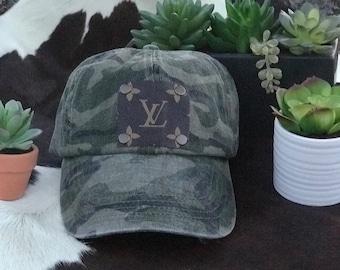 Camo Baseball Cap with Repurposed Authentic Louis Vuitton