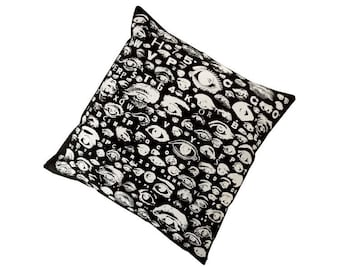 Eye Chart silk screened cotton canvas throw pillow 18 inch white on black
