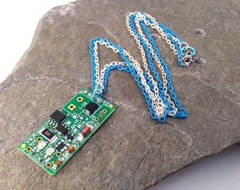 """Blue Upcycled Circuit Board Necklace Recycled Reclaimed Light Blue and Silver Tone Double Chain 18"""""""
