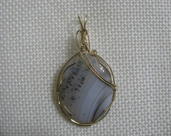 Wire Wrapped Agate Pendant using 14 Caret Gold Filled Wire