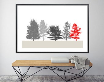 Large tree print 40x60 Poster print Scandinavian art giclee Minimalist modern art large canvas art  grey red by Duealberi