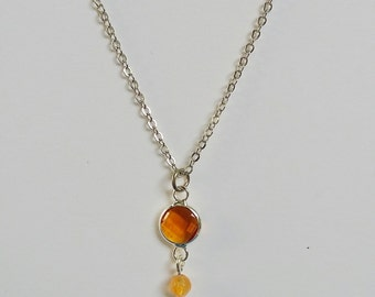 Agate and Citrus Glass Pendant Necklace