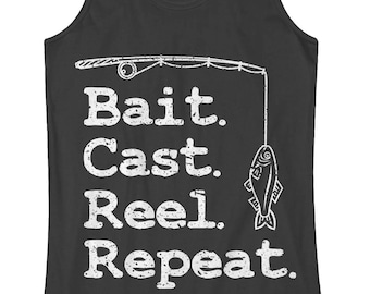 Bait Cast Reel Repeat Women's Racerback Tank Top Beach Boat Fun Fisherman Fishing Pole Catch