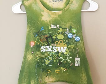 SXSW 2014, crop top, upcycled, colored with markers, wearable art
