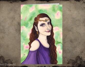 Greeting Card - Blank Inside Elven Princess Fairy Tale Fantasy Goddess Headdress Gold Pagan Pretty Beauty