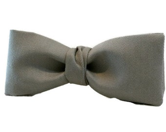 Bow Tie for Men , Solid Gray Grey Bowtie  , Pretied Clip-On  Gift for Him Under 25