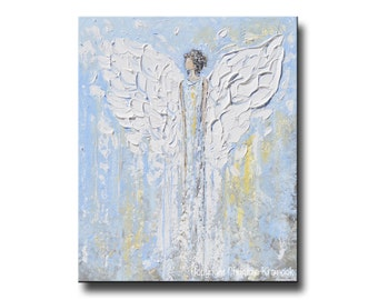 GICLEE PRINT Art Abstract Angel Painting Christmas Decoration White Light Blue Gold Wall Art Home Decor Spiritual Art - Christine Krainock