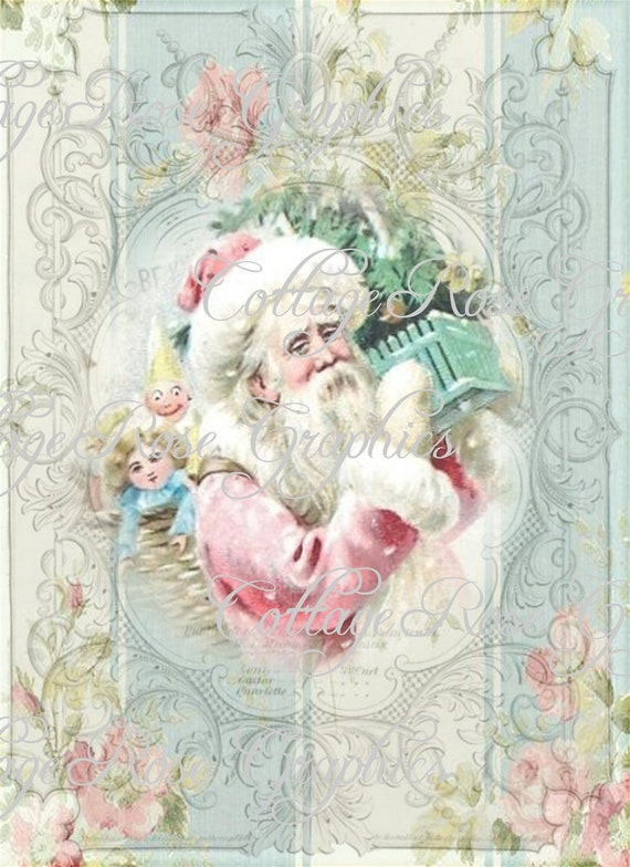 Pink Christmas Shabby Santa Roses Large digital download ECS