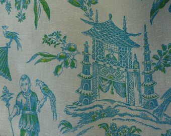 """Waverly, """"WILLIAMSBURG ASIAN ARACADIA"""" Lagoon, Chinoiserie Toile Fabric, Printed on Linen, 100% Linen , Sold by Yard"""