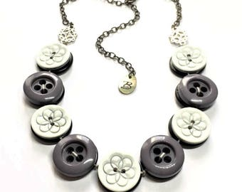 WAS 17.00 NOW 13.00 Grey and White Button Necklace