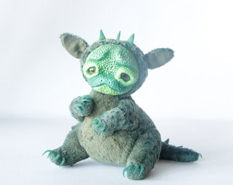 Fantasy Creature Toy Emerald Green Swampy Dragon Cub Cute Precious Collectible Stuffed Animal Cuddly Toy Magical Monster Fantasy Animal